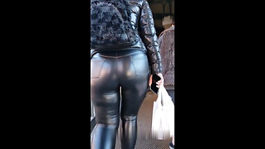 Thick ass leather leggings PAWG
