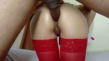 Small tight ass in red stockings fucked by huge cock
